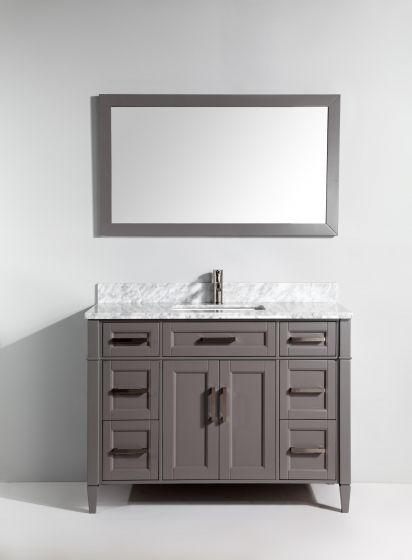 Vanity Art 48 Inch Grey Single Sink Bathroom Vanity Set With Carrara Marble Vanity Top And