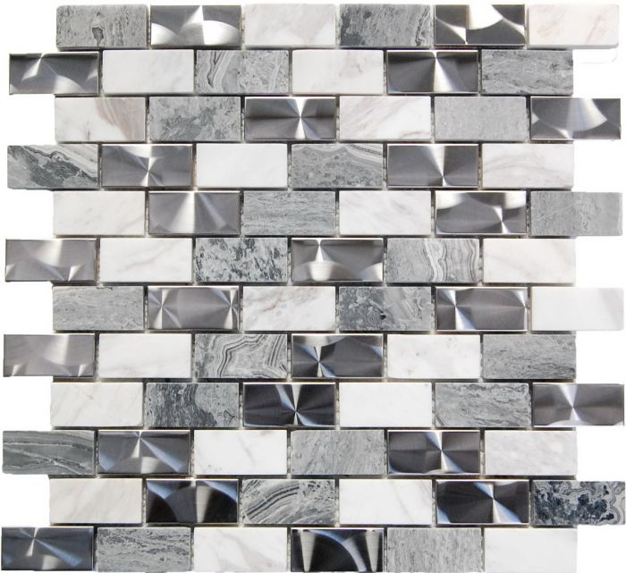 stainless steel and gray stone mix 1 x2 mosaic
